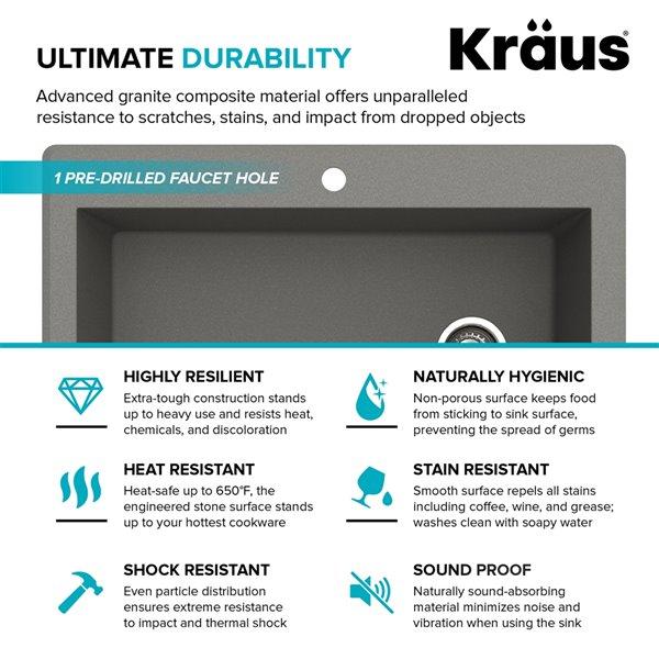 Kraus Forteza Drop-In/Undermount Kitchen Sink - Single Bowl - 33-in - Grey