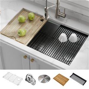 Kraus Kore Undermount Workstation Kitchen Sink - Single Bowl - 32-in - Stainless Steel