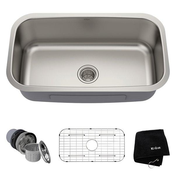 Kraus Outlast MicroShield Undermount Kitchen Sink - Single Bowl - 31.5-in x 18.38-in - Stainless Steel