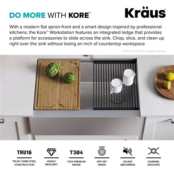 Kraus Kore Apron front/Farmhouse Workstation Kitchen Sink - Single Bowl - 29.88-in - Stainless Steel