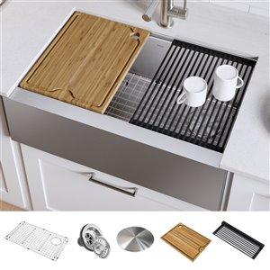 Kraus Kore Apron front/Farmhouse Workstation Kitchen Sink - Single Bowl - 29.88-in - Stainless Steel