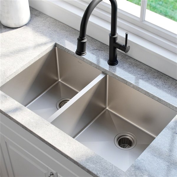 Kraus Standart PRO Undermount Kitchen Sink - Double Offset Bowl - 32.75-in - Stainless Steel