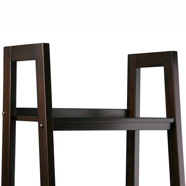 SIMPLI HOME Sawhorse Ladder Shelf with Storage - Dark Brown - 74-in x 24-in