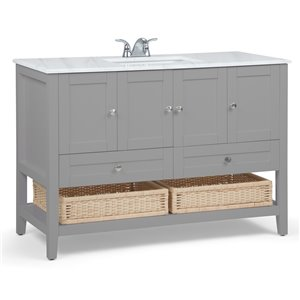 SIMPLI HOME Cape Cod Bath Vanity with White Engineered Quartz Marble Top - 48-in