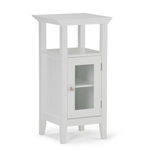 SIMPLI HOME Acadian Floor Storage Cabinet for Bathroom - White