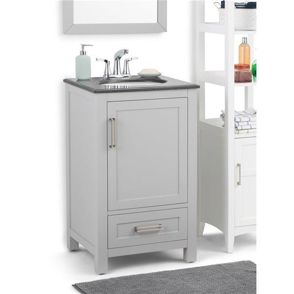Meuble-lavabo Evan SIMPLI HOME avec vasque en granit noir, 20 po