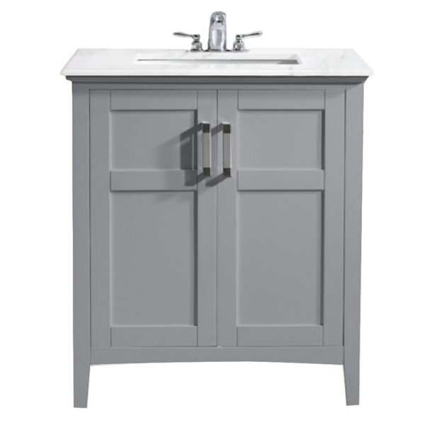 SIMPLI HOME Winston Bath Vanity White Engineered Quartz Marble Top - 30-in