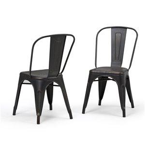Chaises de salle à manger Fletcher SIMPLI HOME en métal, noir vieilli, ens. de 2