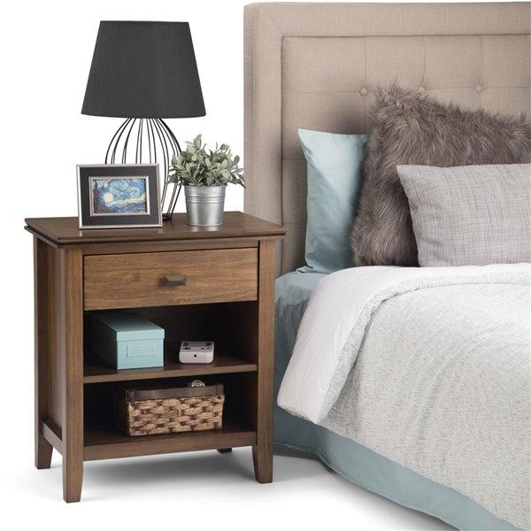 Table de nuit Artisan SIMPLI HOME 1 tiroir, brun rustique naturel, 15 po x 24 po