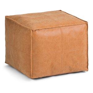 Pouf carré Brody SIMPLI HOME, brun vieilli, 18 po x 18 po x 14 po