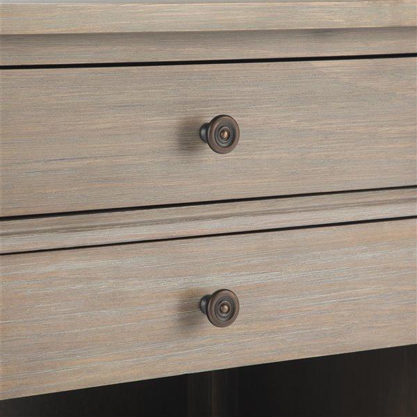 Table de nuit Carlton SIMPLI HOME, 2 tiroirs, gris vieilli, 16 po x 24 po