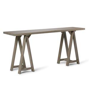 Grande table console de salon Sawhorse SIMPLI HOME, grise, 16,5 po x 66 po