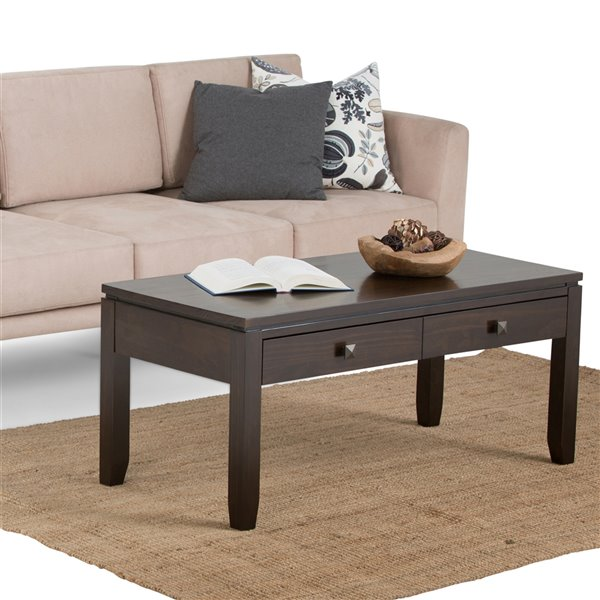 SIMPLI HOME Cosmopolitan Coffee Table - Brown - 20-in x 42-in