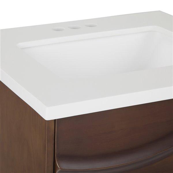 SIMPLI HOME Marlowe Bath Vanity with Light Grey Veined Engineered Quartz Marble Top - 24-in
