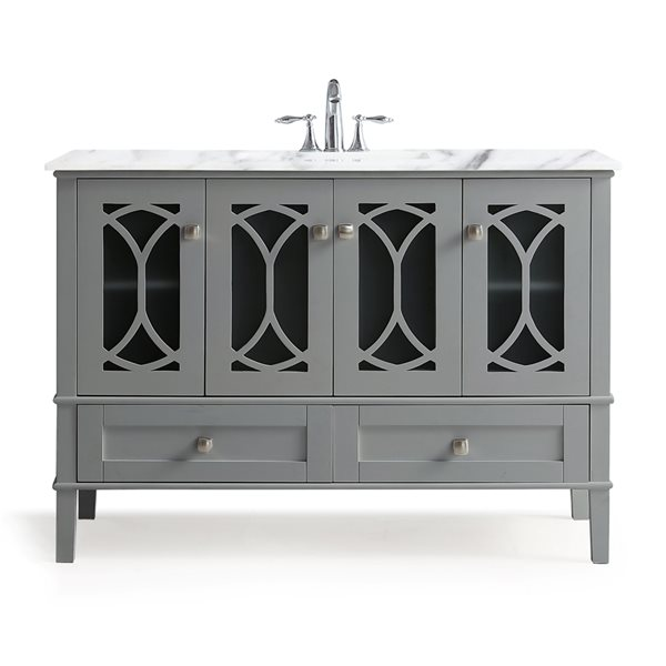 SIMPLI HOME Paige Bath Vanity with White Engineered Quartz Marble Top - 48-in