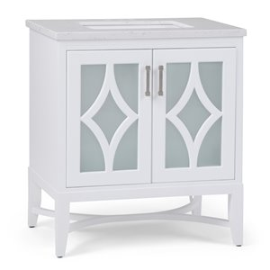 SIMPLI HOME Bristol Bath Vanity with Carrara White Engineered Quartz Marble Top - 30-in