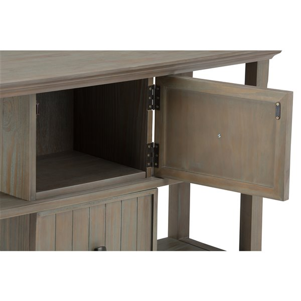 Table console pour salon Acadian SIMPLI HOME à 2 tiroirs, grise, 16 po x 47,5 po