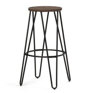 Tabouret en métal noir et bois Simeon SIMPLI HOME hauteur bar, 30 po