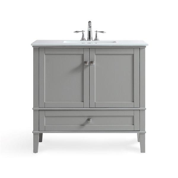 Meuble-lavabo de salle de bains Chelsea SIMPLI HOME de 36 pouces avec vasque blanc