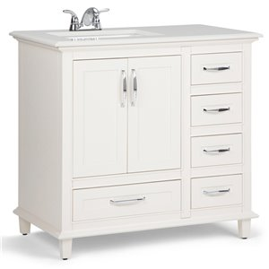 SIMPLI HOME Ariana Left Offset Bath Vanity White Engineered Quartz Marble Top - 36-in