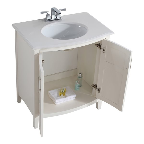 SIMPLI HOME Winston Rounded Front Bath Vanity White Engineered Quartz Marble Top - 30-in