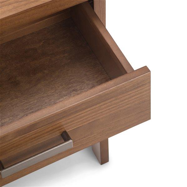 Table de nuit Sawhorse SIMPLI HOME en bois massif, 1 tiroir, brun moyen, 16 po x 24 po