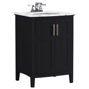 SIMPLI HOME Winston Rounded Front Bath Vanity White Engineered Quartz Marble Top - 24-in