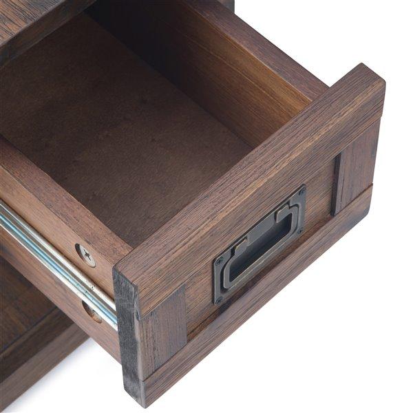 SIMPLI HOME Monroe Narrow Side Table - 1 Drawer - Charcoal brown