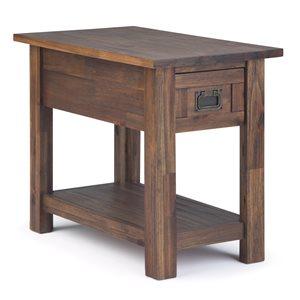 Table d'appoint étroite Monroe Narrow SIMPLI HOME, 1 tiroir, brun charbon