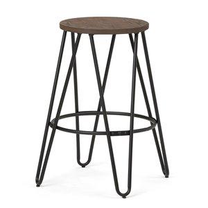 Tabouret de bar Simeon SIMPLI HOME en métal noir et bois, hauteur comptoir, 24 po