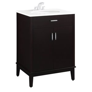 SIMPLI HOME Urban Loft Bath Vanity with White Engineered Quartz Marble Top - 24-in