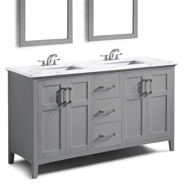 Meuble-lavabo Winston SIMPLI HOME de 60 pouces avec vasque blanc