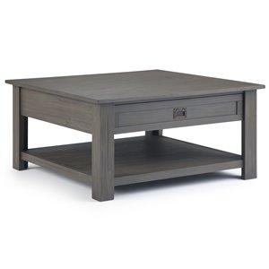 Table basse de salon Monroe SIMPLI HOME, grise, 38 po x 38 po
