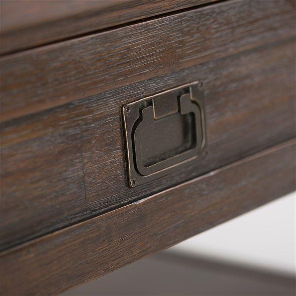 Table basse carrée de salon Monroe SIMPLI HOME, brune, 38 po x 38 po