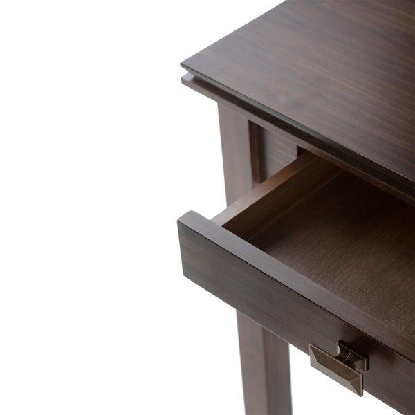 Table console pour salon Artisan SIMPLI HOME à 2 tiroirs, brune, 16,5 po x 45,9 po