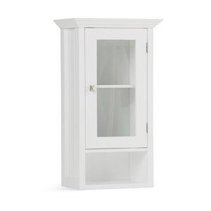 SIMPLI HOME Acadian Single Door Wall Cabinet for Bathroom - White
