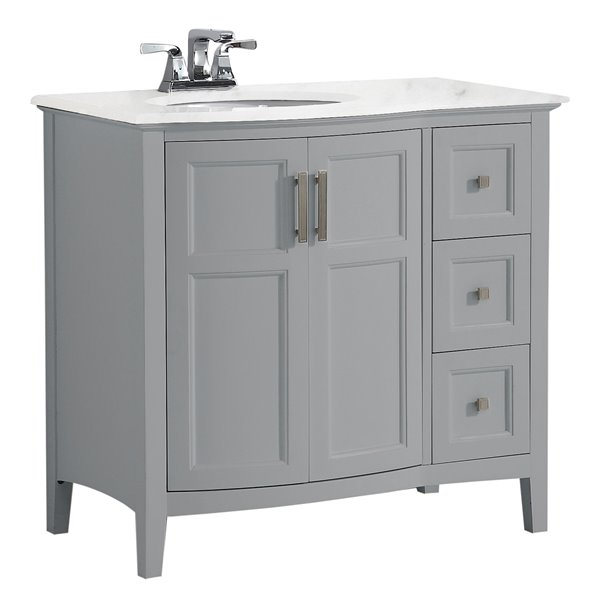 SIMPLI HOME Winston Rounded Front Bath Vanity White Engineered Quartz Marble Top - 36-in
