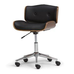 Chaise de bureau Dax SIMPLI HOME en bois cintré et similicuir noir, 5 roulettes