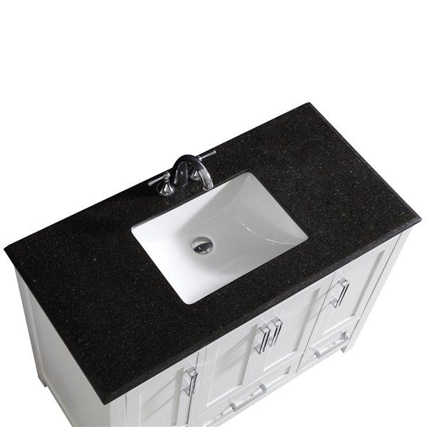 SIMPLI HOME Evan Bath Vanity with Black Granite Top - 42-in