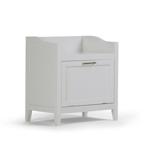 SIMPLI HOME Avington Storage Hamper Bench for Bathroom - White