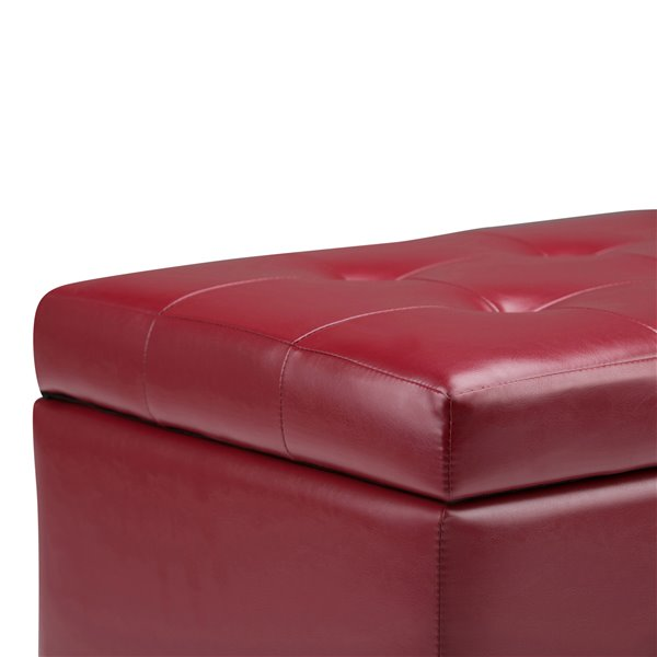 SIMPLI HOME Cosmopolitan Storage Ottoman - Red - 17.3-in x 33.5-in