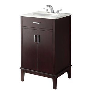SIMPLI HOME Urban Loft Bath Vanity with White Engineered Quartz Marble Top - 20-in