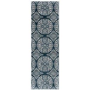 Tapis rectangulaire Isabella de Safavieh, 2 pi 2 po x 7 pi, bleu marine/ivoire