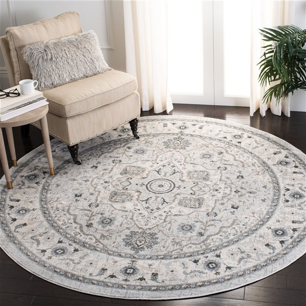 Safavieh Isabella Area Rug - 6-ft 7-in x 6-ft 7-in - Round - Light Gray/Gray