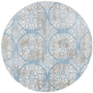 Tapis rond Isabella de Safavieh, 6 pi 7 po x 6 pi 7 po, bleu jean/ivoire