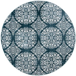 Tapis rond Isabella de Safavieh, 6 pi 7 po x 6 pi 7 po, bleu marine/ivoire