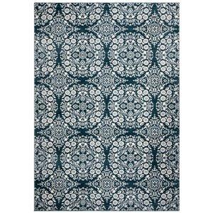 Tapis rectangulaire Isabella de Safavieh, 5 pi 3 po x 7 pi 7 po, bleu marine/ivoire