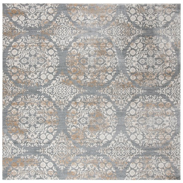 Tapis carré Isabella de Safavieh, 6 pi 7 po x 6 pi 7 po, gris argenté/ivoire