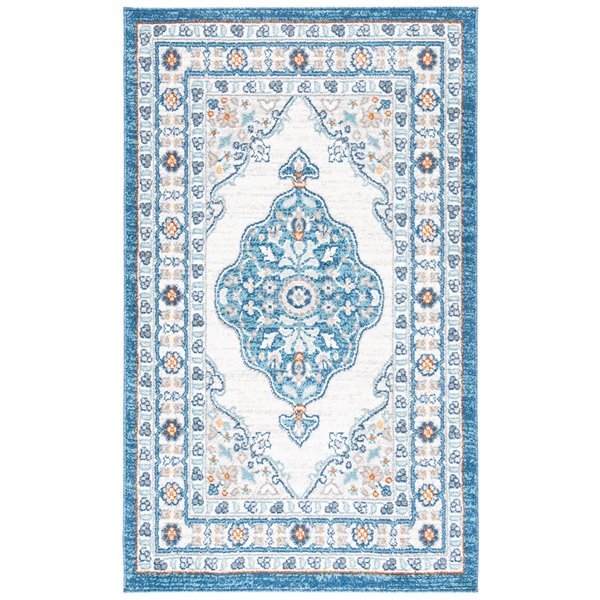 Safavieh Victoria Area Rug - 9-ft x 12-ft - Rectangular - Dark Blue/Ivory