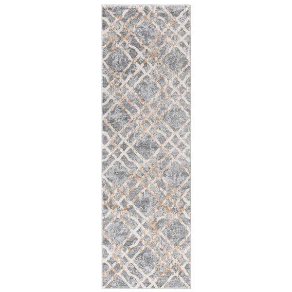 Tapis rectangulaire Isabella de Safavieh, 2 pi 2 po x 7 pi, gris argenté/ivoire